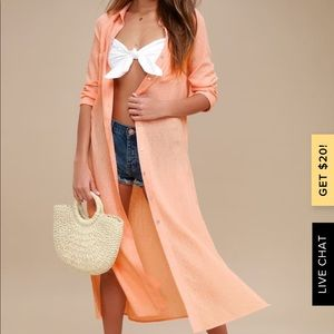 Sweet Cottage Coral Orange Long Sleeve Cover-Up